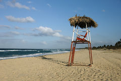 Coast guard. Chair at the beach of Playas del Este, Cuba royalty free stock photo