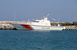 Coast Guard Boat. Anchored in seaport Stock Photography