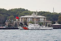 Coast Guard Boat. Commemoration of the Turkish participation to the Korean War on October 24, 2011 in Istanbul. Turkish coast guard boat patrols near the Korean Royalty Free Stock Image