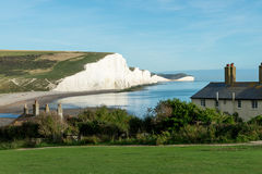 The Coast Guard Cottages & Seven Sisters Chalk Cliffs just outside Eastbourne Royalty Free Stock Images