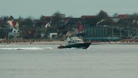 Coast Guard cruising near Laboe beach, Germany. Coast Guard cruising near Laboe  beach, Germany stock video footage