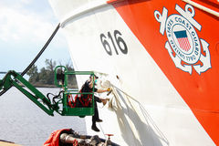 Coast Guard cutter Diligence, Wilmington, NC. Coast Guard cutter Diligence gets attention from its crew Stock Image