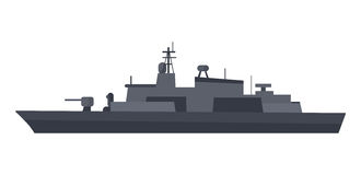 Coast Guard Cutter Flat Design Vector Illustration. Military warship vector. Coast guard cutter with small-caliber cannon on turret flat illustration isolated on Royalty Free Stock Photography