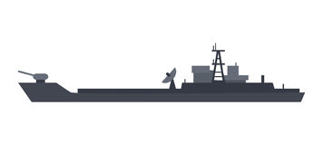 Coast Guard Cutter Flat Design Vector Illustration. Military warship vector. Coast guard cutter with small-caliber cannon on turret flat illustration isolated on Stock Photography