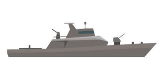 Coast Guard Cutter Flat Design Vector Illustration. Military warship vector. Coast guard cutter with small-caliber cannon on turret flat illustration isolated on Royalty Free Stock Photos