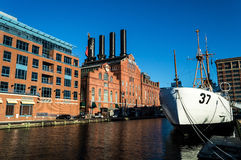 Coast Guard Cutter in Harbor. BALTIMORE, MARYLAND-SEPTEMBER 27-The USCGC Taney in the Inner Harbor on September 27 2014 in Baltimore Maryland. The Coast Guard Royalty Free Stock Photo