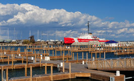Coast Guard Cutter Mackinaw. As viewed from an empty Straits State Harbor in Mackinaw City, Michigan Royalty Free Stock Photos
