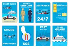 Coast guard day cards set. Guarding the order of flyear, magazines, posters, book cover, banners. Devices infographic. Concept background. Layout illustrations Royalty Free Stock Photography