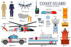 Coast guard day flat icoms set. Guarding the order background. Devices infographic concept. Layout illustrations. Template Royalty Free Stock Images
