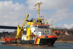 Coast guard and fire boat. On Kiel Canal, Germany royalty free stock photos