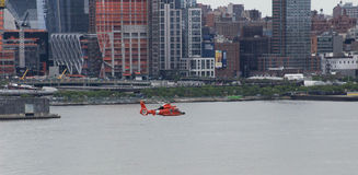 Coast Guard Flight. Coast Guard helicopter flight downtown during Fleet Week 2017 Royalty Free Stock Photography