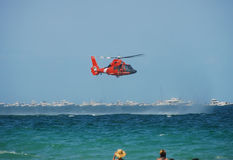 Coast Guard helicopter. US Coast Guard performing a sea rescue operation Stock Photography