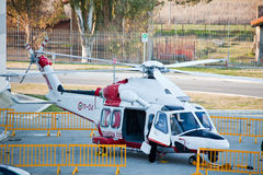 Coast Guard Helicopter. Rome, Italy, February 19, 2011: Big Blue Rome Sea Expo - Boat Show Rome 2011 Royalty Free Stock Photo