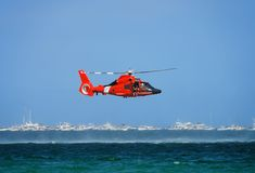 Coast Guard Helicopter. Coast Guard rescue helicopter on patrol royalty free stock photo