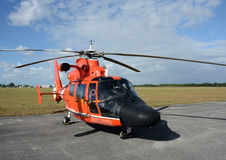 Coast Guard helicopter. Modern Coast Guard helicopter resting between flights Royalty Free Stock Photo