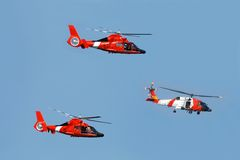 Coast Guard helicopter. Three helicopter patrolling on a coast guard mission Stock Photography