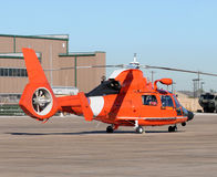 Coast Guard helicopter. Modern Coasr Guard helicopter awaiting rescue mission Royalty Free Stock Image