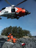 Coast Guard helicopter operations. Aids to Navigation helicopter operations in Alaska Royalty Free Stock Photo