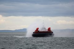 Coast Guard Hovercraft Approaching Royalty Free Stock Photo