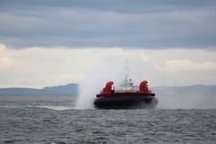 Coast Guard Hovercraft Approaching Royalty Free Stock Photo