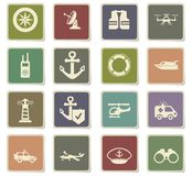 Coast guard icon set Stock Image