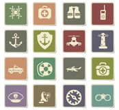 Coast guard icon set Royalty Free Stock Image