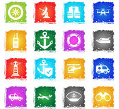 Coast guard icon set Stock Images