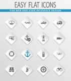 Coast Guard icons set. Coast Guard easy flat web icons for user interface design Royalty Free Stock Photo
