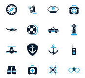 Coast Guard icons set. Coast Guard icon set for web sites and user interface Stock Image