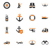 Coast Guard icons set. Coast Guard icon set for web sites and user interface Stock Photos