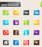 Coast Guard icons set. Coast Guard icons for your design glossy bookmarks Royalty Free Stock Image