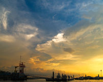 Coast Guard Outpost At Sunset Stock Photography
