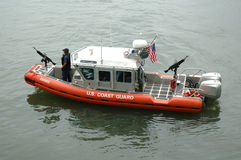 Coast Guard Patrol Boat. A small, two engined Coast Guard Patrol boat Stock Photo
