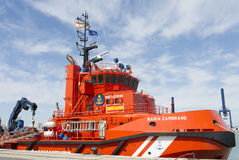 Coast Guard Rescue Ship. Rescue ship, coast guard for maritime salvage in intense orange color Stock Photo