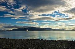 Coast guard ship entering Reykjavik harbor after early morning patrol Royalty Free Stock Images