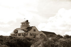 Coast guard station in sepia Stock Photos