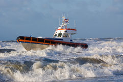 Coast guard during storm. In ocean Royalty Free Stock Photography
