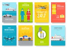 Coast guard thin line brochure cards set. Guarding traditional template of flyear, magazines, posters, book cover. Banners. Devices outline invitation concept Stock Photos