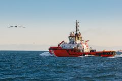 Coast guard vessel in turkey Royalty Free Stock Photo
