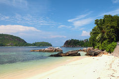 On coast of gulf Anse Islette. Port Glaud, Mahe, Seychelles Royalty Free Stock Photo