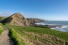 South west coastal path near Hartland Quay in North Devon stock photo