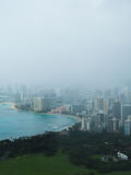Coast of Honolulu Hawaii on Foggy Day Stock Photo