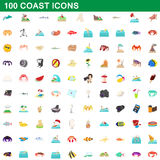 100 coast icons set, cartoon style. 100 coast icons set in cartoon style for any design vector illustration Stock Illustration