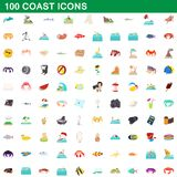 100 coast icons set, cartoon style. 100 coast icons set in cartoon style for any design illustration vector illustration