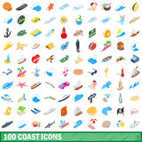 100 coast icons set, isometric 3d style. 100 coast icons set in isometric 3d style for any design vector illustration Stock Images