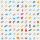 100 coast icons set, isometric 3d style. 100 coast icons set in isometric 3d style for any design vector illustration Stock Photos