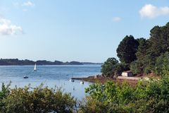 Coast of ile aux Moines island in Morbihan gulf Stock Photos