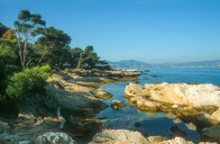 Coast of the Ile Saint Honorat Stock Photo
