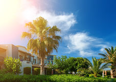 Coast of island of Crete, Greece, with palm trees, beautiful lawns and buildings in the sun and bright sky with clouds. Coast of the island of Crete, Greece royalty free stock images