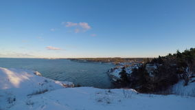 Coast on the island of Gotland in Sweden during winter stock video footage